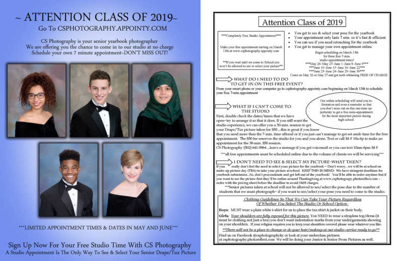 Class of 2019 Drape/Tux Yearbook Photo Appointments