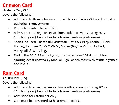 Crimson & Ram Cards on sale at registration