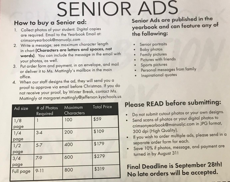SENIOR PARENTS: Senior Ads Due 9/28