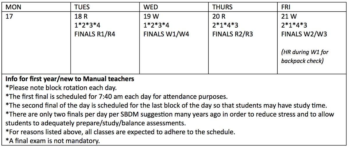 Fall Semester finals schedule
