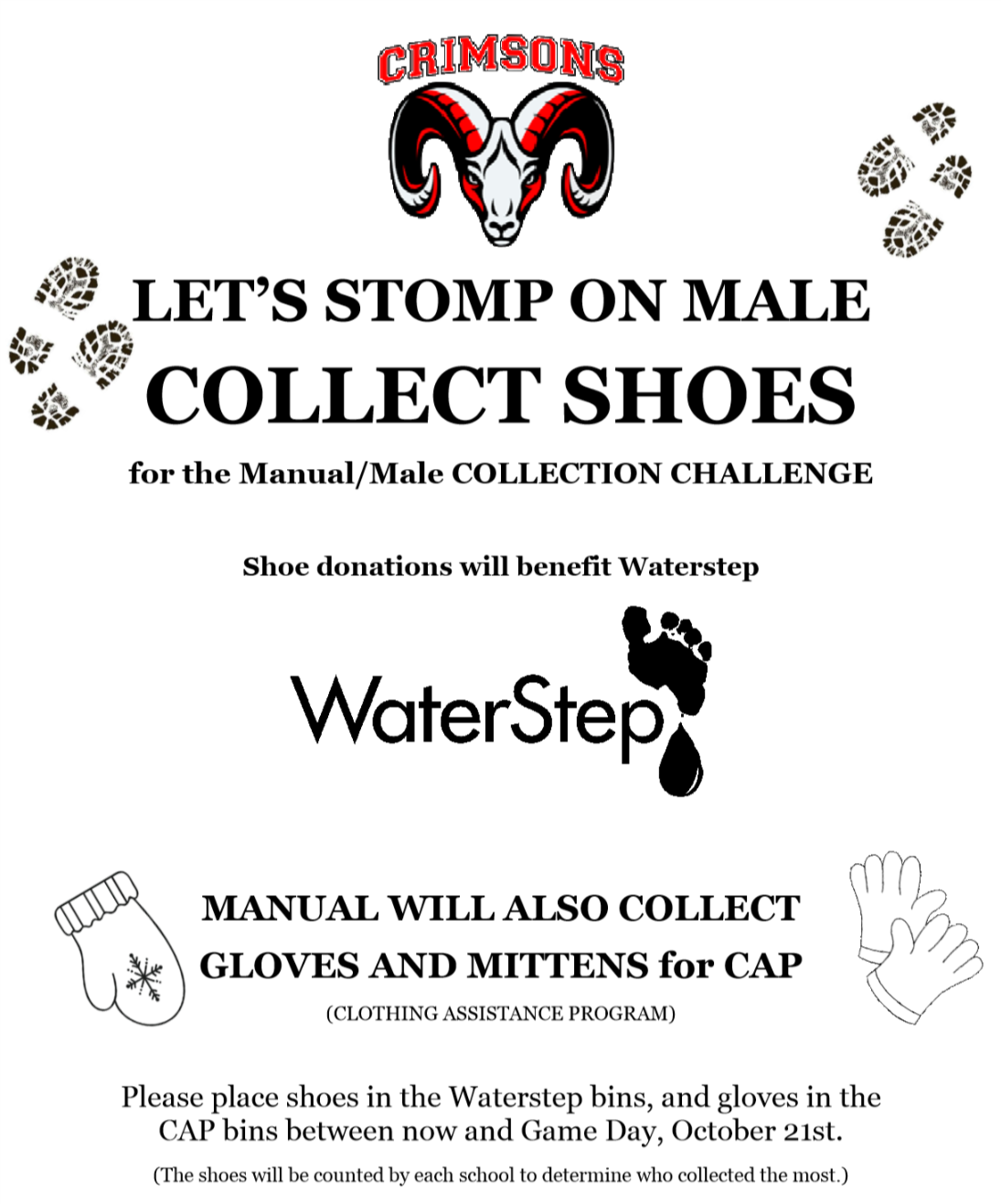 CAP collecting shoes, gloves and mittens for Red-White Week